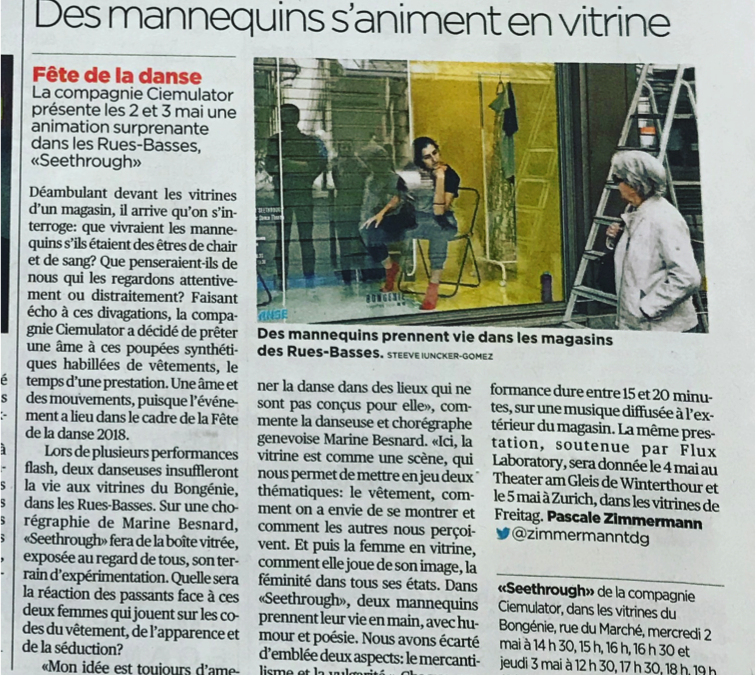 SEETHROUGH      Tribune de Genève – Mai 2018