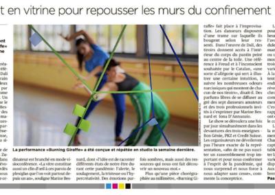 Tribune de Genève 14 avril 2021, Pascale Zimmermann, Burning Giraffe